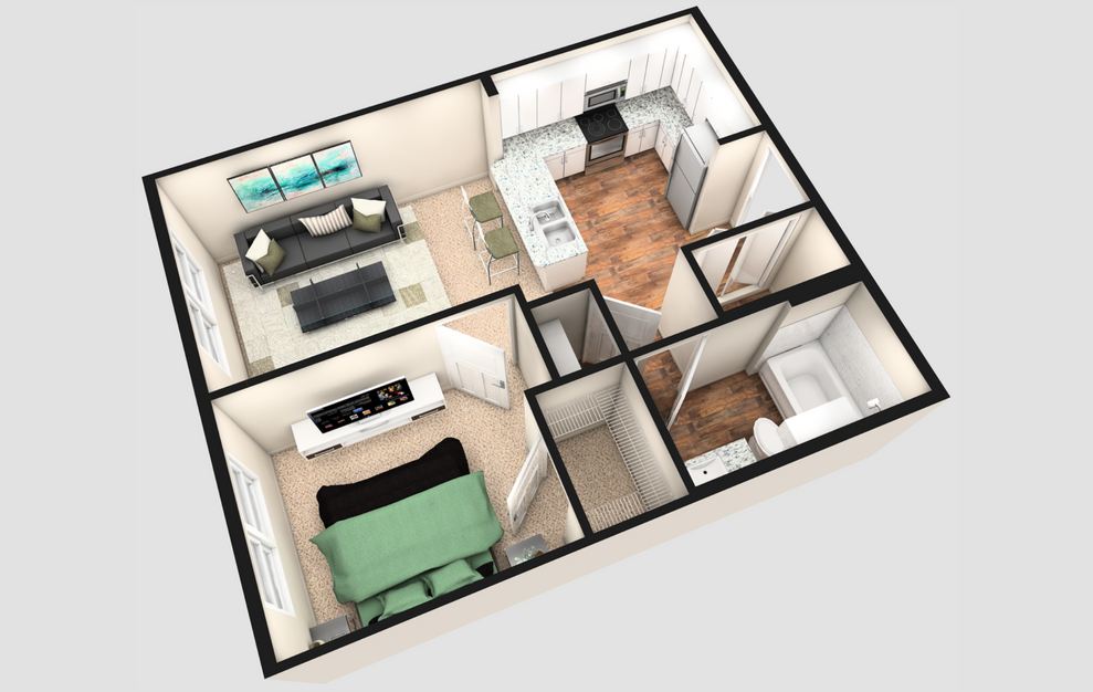 A - 1 bedroom floorplan layout with 1 bath and 560 square feet. (3D)