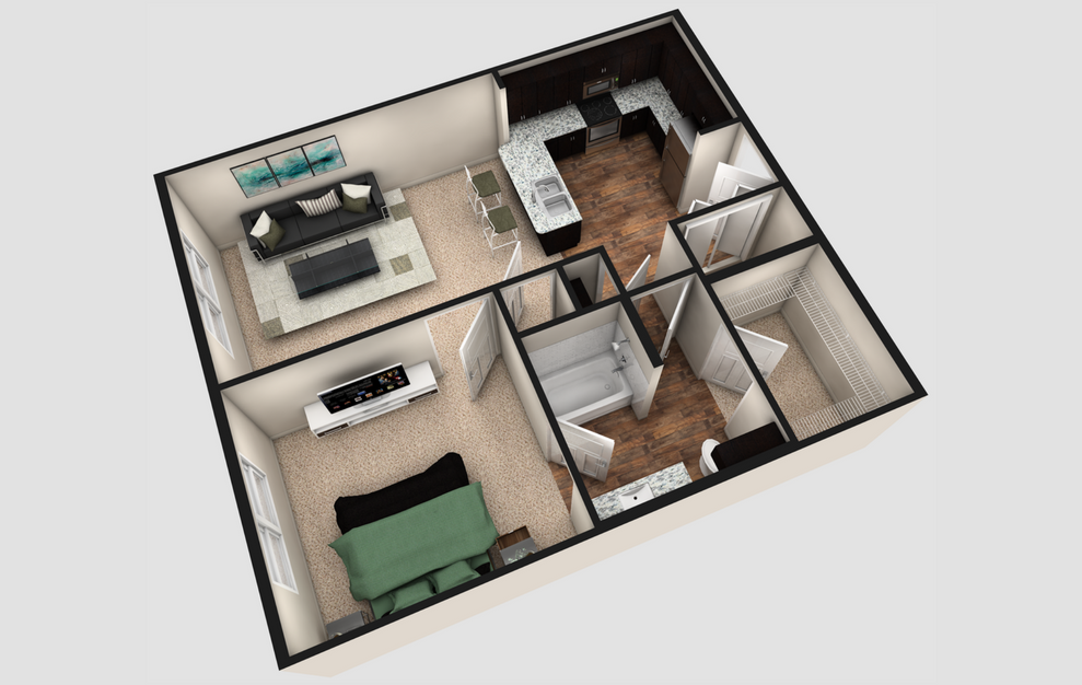 A1 - 1 bedroom floorplan layout with 1 bath and 730 square feet. (Espresso Finish / 3D)