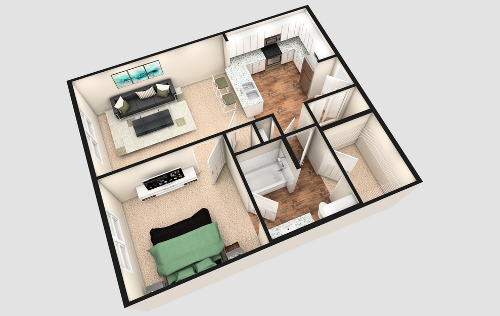 A1 - 1 bedroom floorplan layout with 1 bath and 730 square feet. (White Finish / 3D)