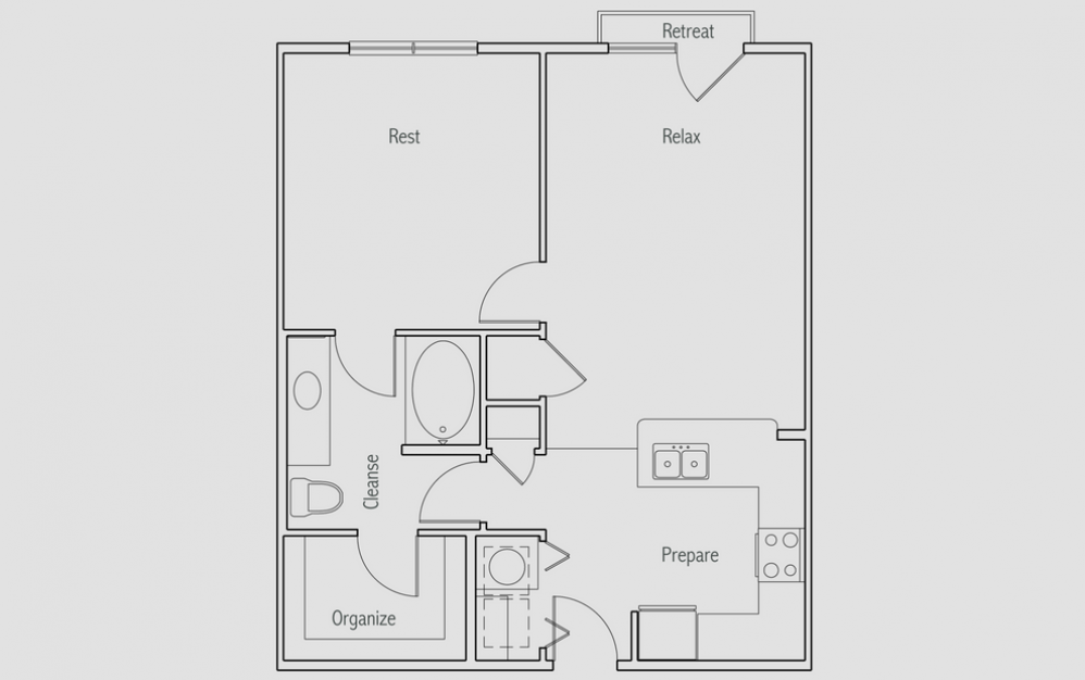 A1J - 1 bedroom floorplan layout with 1 bath and 740 square feet. (2D)