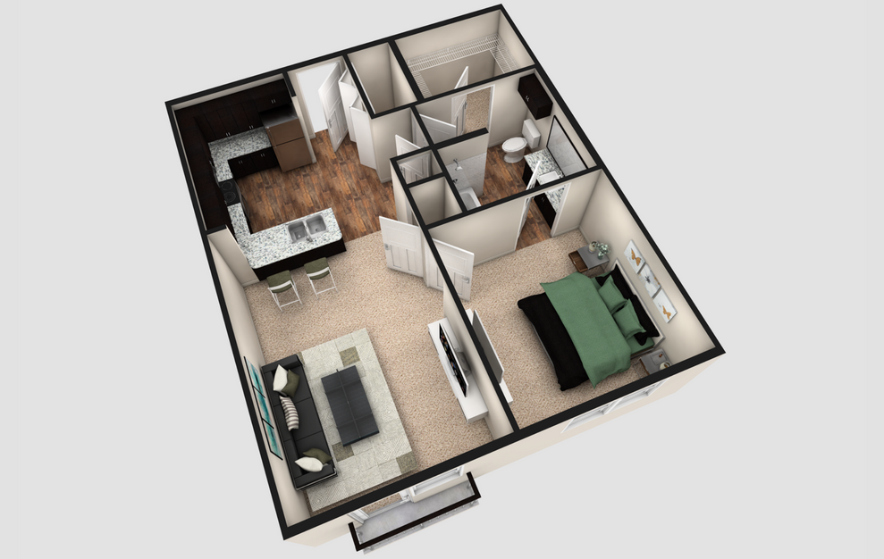 A1J - 1 bedroom floorplan layout with 1 bath and 740 square feet. (Espresso Finish / 3D)