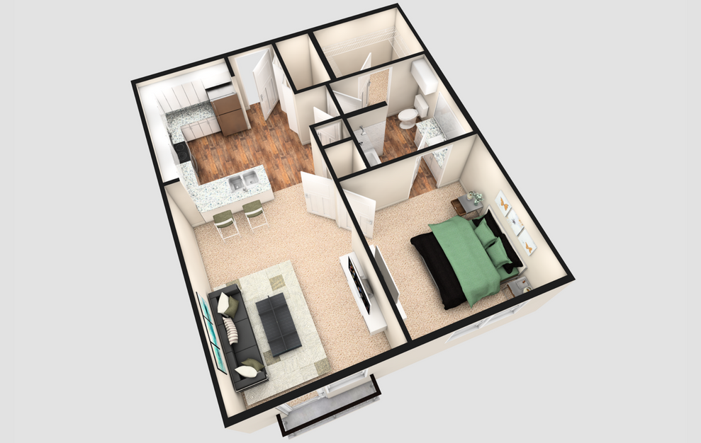 A1J - 1 bedroom floorplan layout with 1 bath and 740 square feet. (White Finish / 3D)