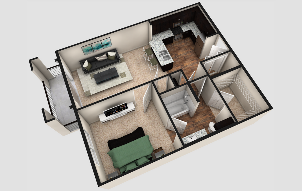 A1T - 1 bedroom floorplan layout with 1 bath and 790 square feet. (Espresso Finish / 3D)