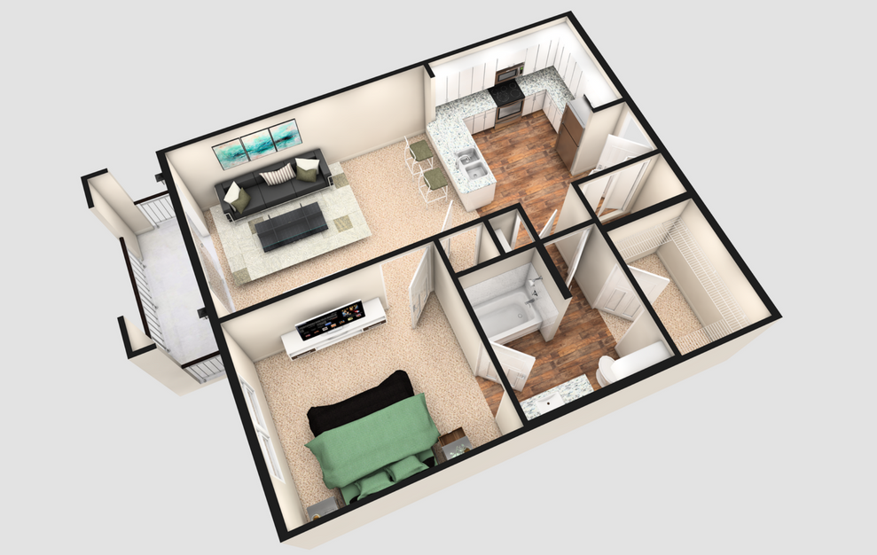 A1T - 1 bedroom floorplan layout with 1 bath and 790 square feet. (White Finish / 3D)