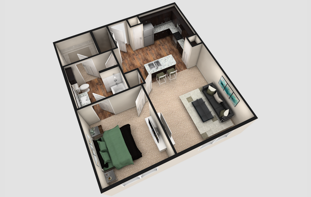 A2 - 1 bedroom floorplan layout with 1 bath and 780 square feet. (Espresso Finish / 3D)