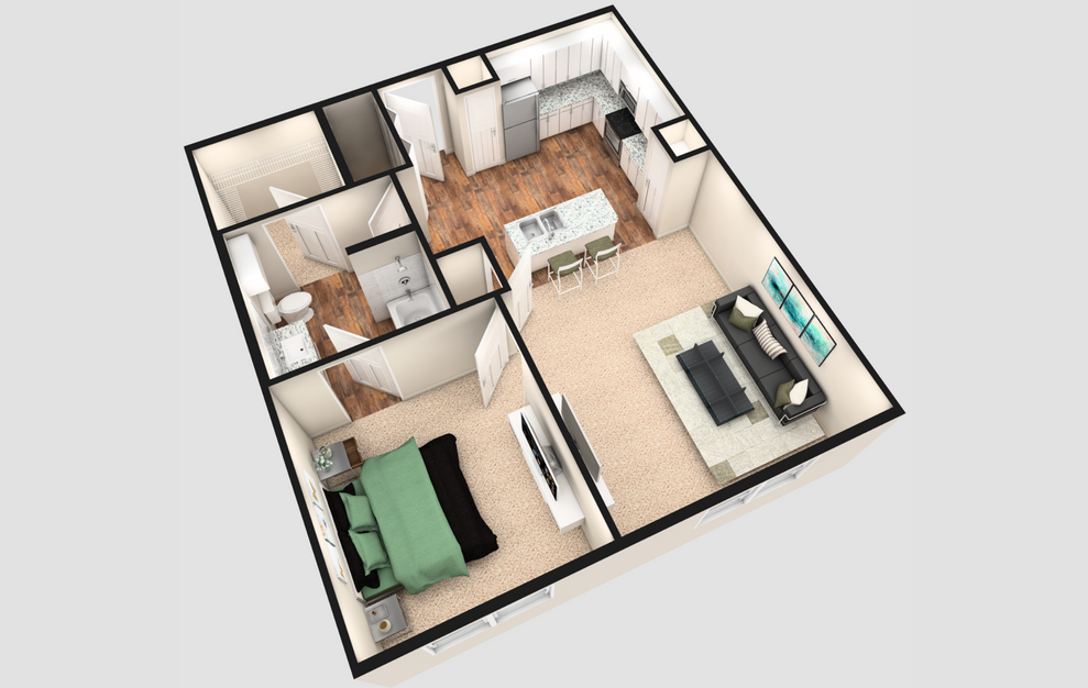 A2 - 1 bedroom floorplan layout with 1 bath and 780 square feet. (White Finish / 3D)