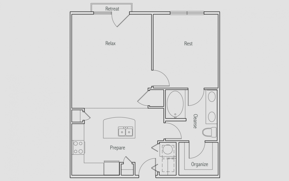 A2J - 1 bedroom floorplan layout with 1 bath and 790 square feet. (2D)