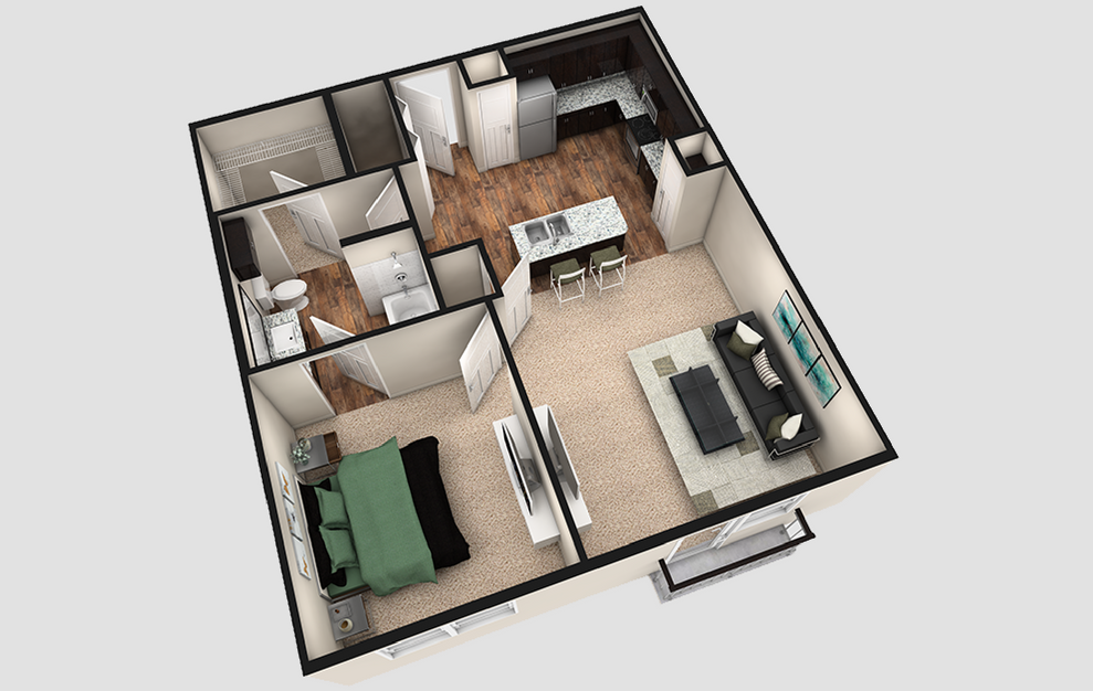 A2J - 1 bedroom floorplan layout with 1 bath and 790 square feet. (Espresso Finish / 3D)