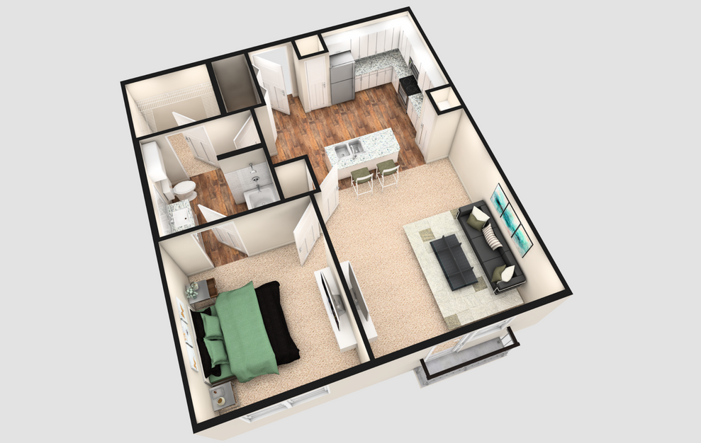 A2J - 1 bedroom floorplan layout with 1 bath and 790 square feet. (White Finish / 3D)