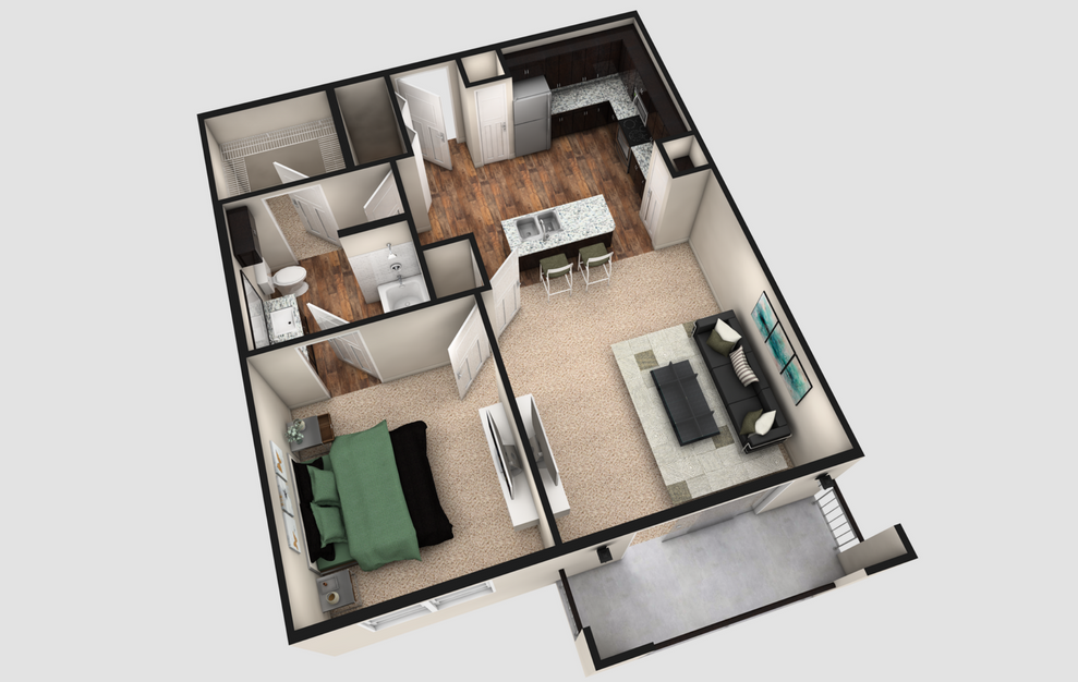 A2T - 1 bedroom floorplan layout with 1 bath and 840 square feet. (Espresso Finish / 3D)