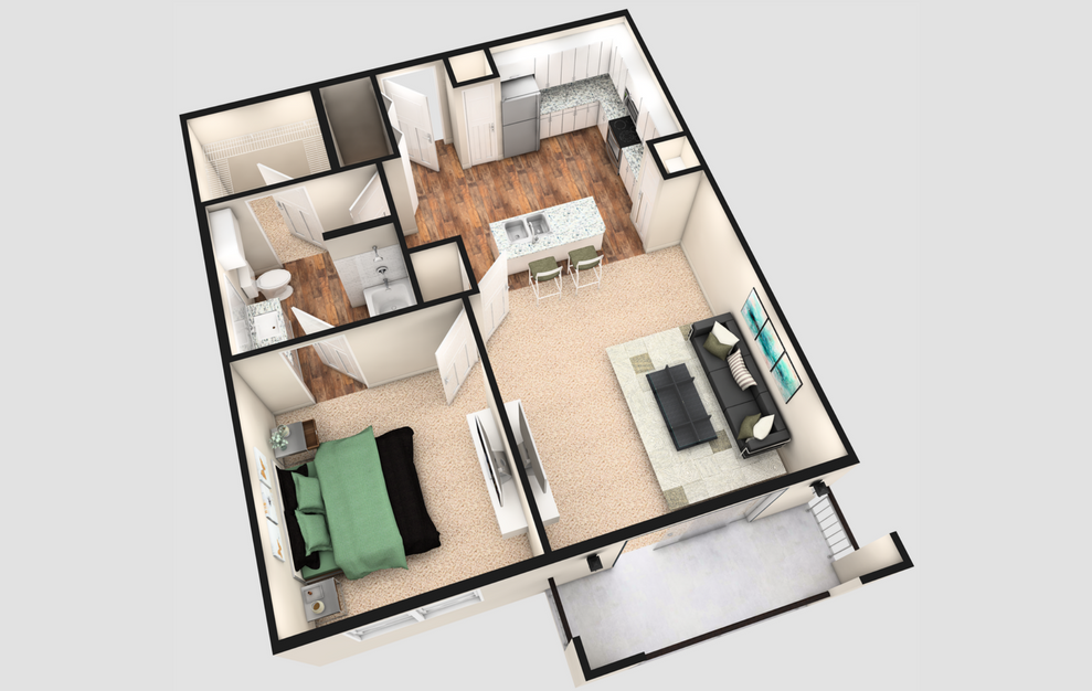 A2T - 1 bedroom floorplan layout with 1 bath and 840 square feet. (White Finish / 3D)