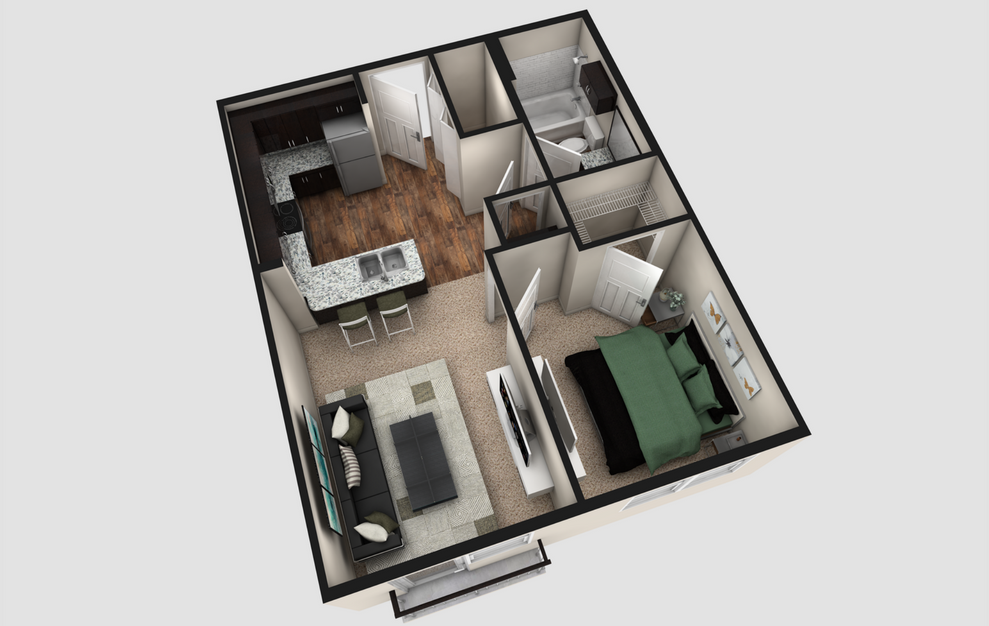 AJ - 1 bedroom floorplan layout with 1 bath and 570 square feet. (Espresso Finish / 3D)