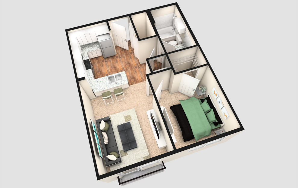 AJ - 1 bedroom floorplan layout with 1 bath and 570 square feet. (White Finish / 3D)