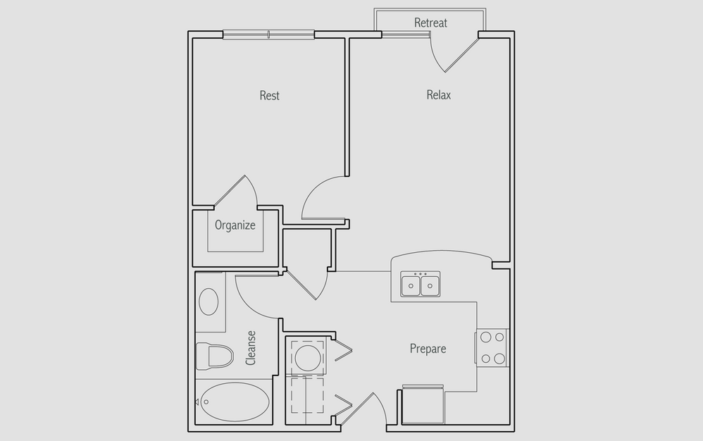 AJ - 1 bedroom floorplan layout with 1 bath and 570 square feet. (2D)