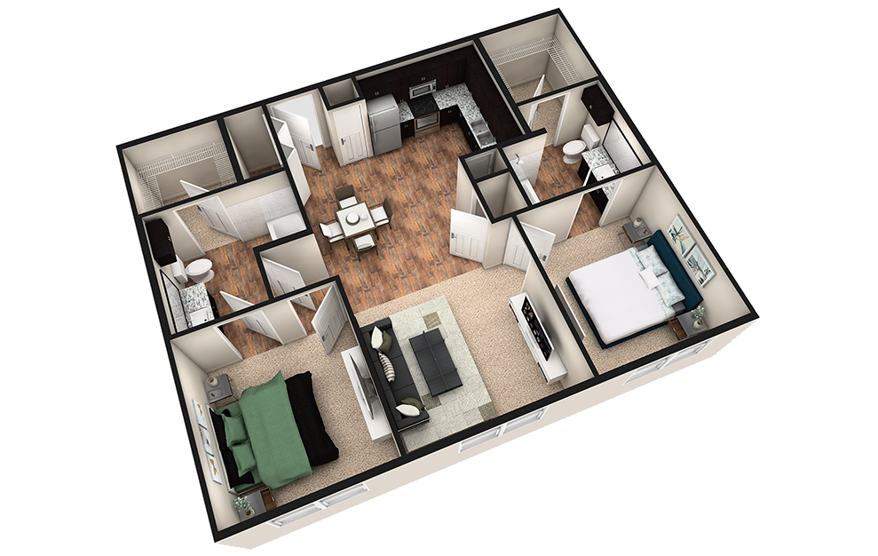 B1 - 2 bedroom floorplan layout with 2 baths and 1010 square feet. (3D)