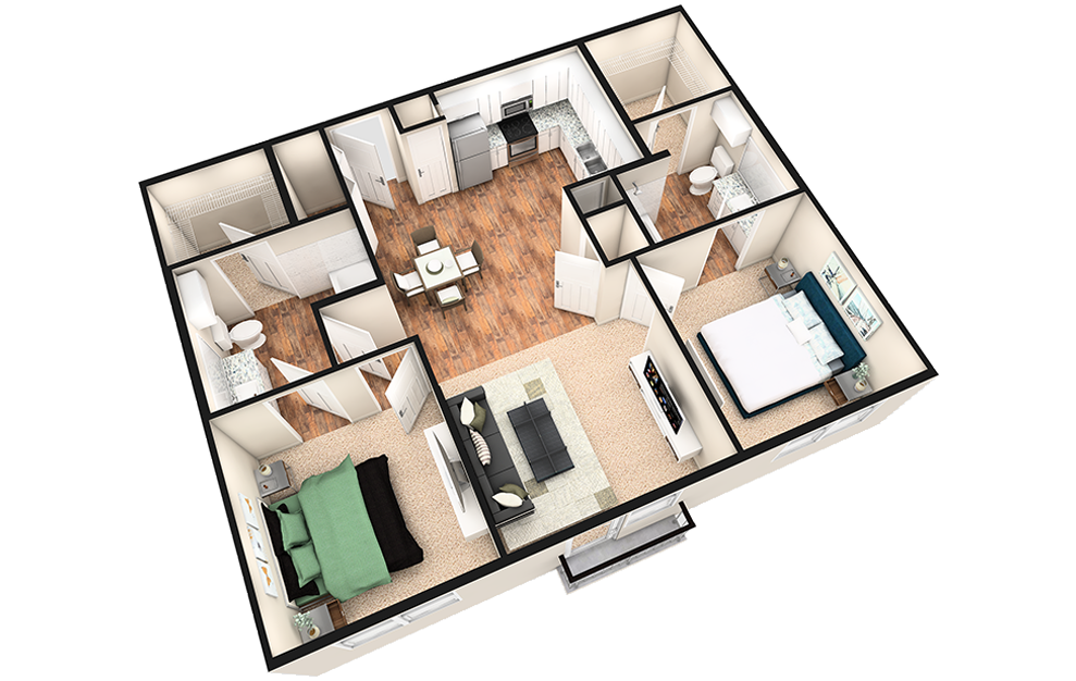 B1J - 2 bedroom floorplan layout with 2 baths and 1020 square feet. (3D)