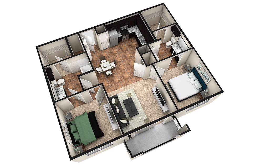 B1T - 2 bedroom floorplan layout with 2 baths and 1070 square feet. (3D)