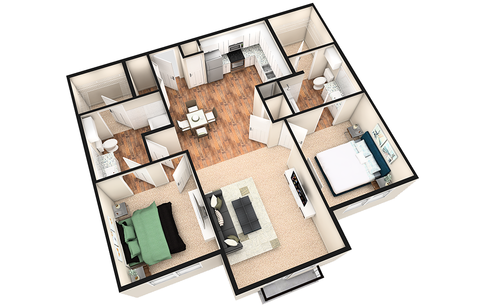 B1XJ - 2 bedroom floorplan layout with 2 baths and 1080 square feet. (3D)