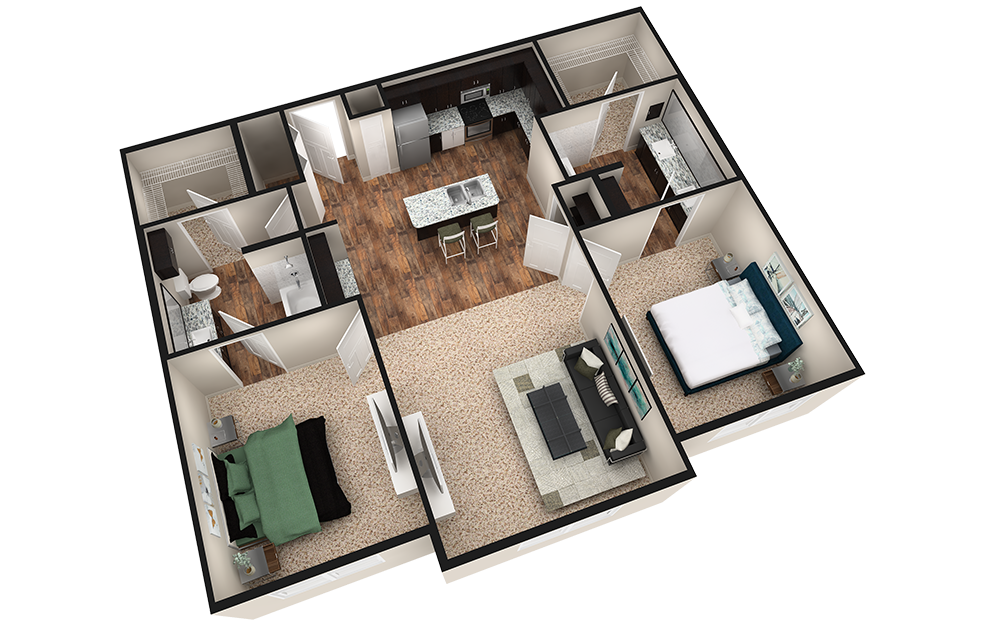 B2 - 2 bedroom floorplan layout with 2 baths and 1180 square feet. (Espresso Finish / 3D)