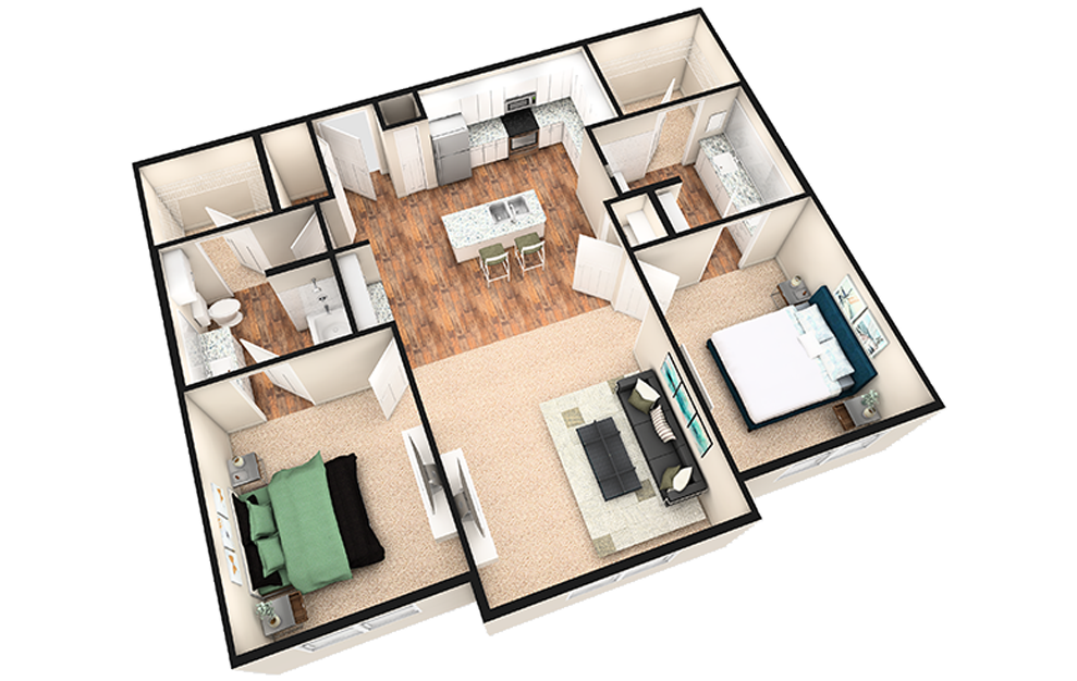 B2 - 2 bedroom floorplan layout with 2 baths and 1180 square feet. (White Finish / 3D)