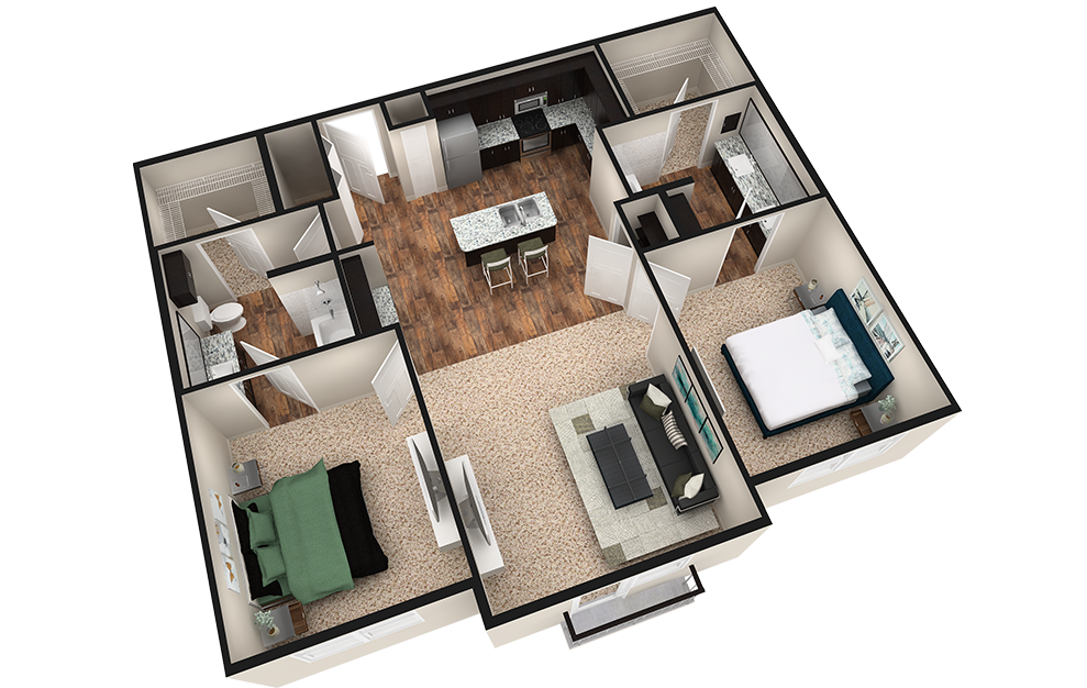 B2J - 2 bedroom floorplan layout with 2 baths and 1190 square feet. (Espresso Finish / 3D)