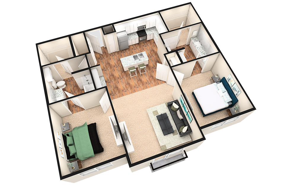 B2J - 2 bedroom floorplan layout with 2 baths and 1190 square feet. (White Finish / 3D)