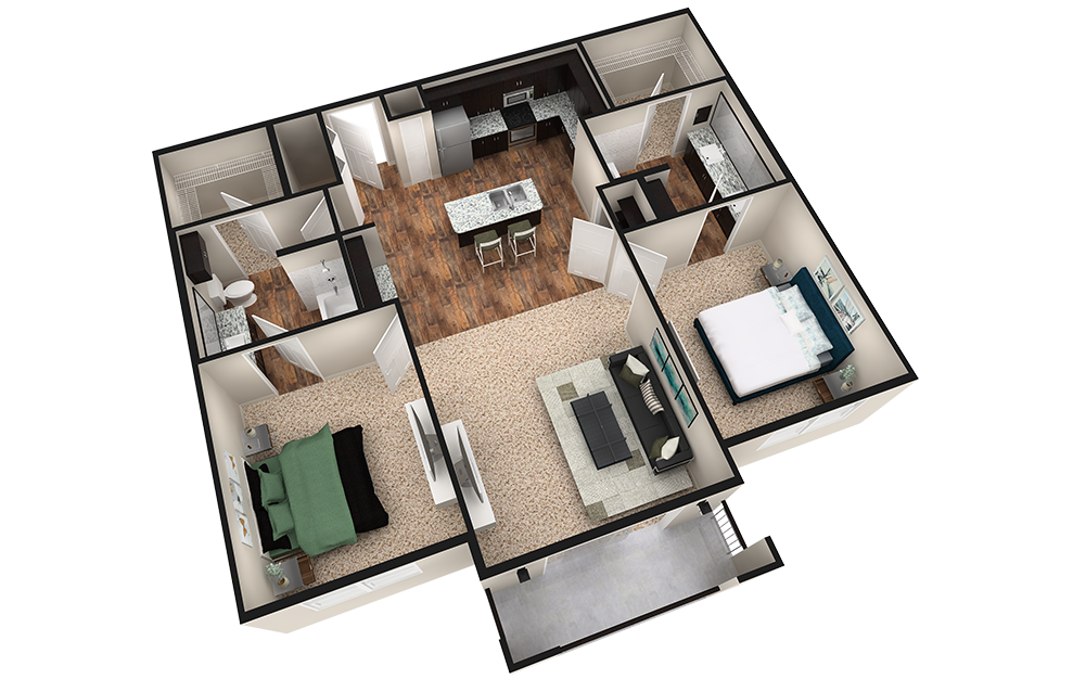 B2T - 2 bedroom floorplan layout with 2 baths and 1240 square feet. (Espresso Finish / 3D)