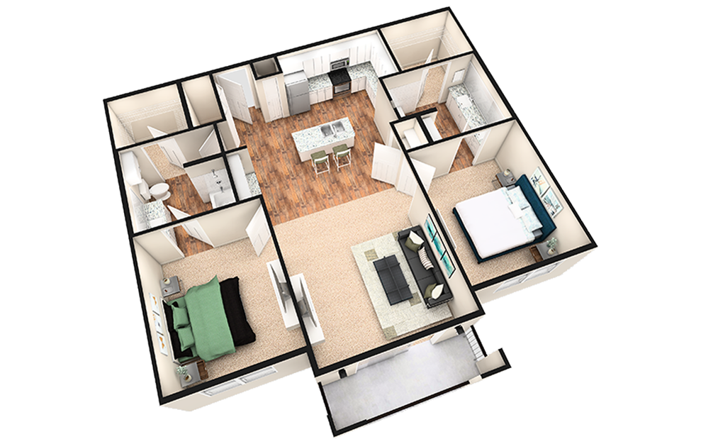 B2T - 2 bedroom floorplan layout with 2 baths and 1240 square feet. (White Finish / 3D)