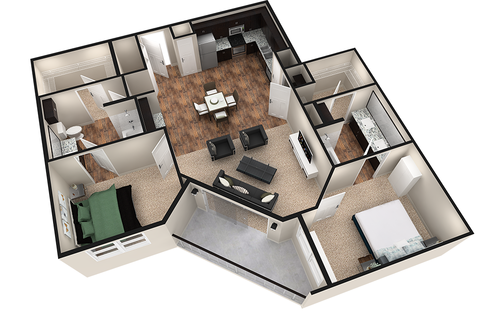 B3T - 2 bedroom floorplan layout with 2 baths and 1260 square feet. (Espresso Finish / 3D)