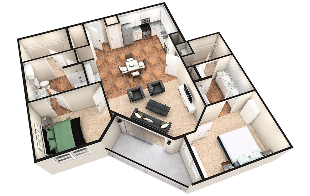 B3T - 2 bedroom floorplan layout with 2 baths and 1260 square feet. (White Finish / 3D)