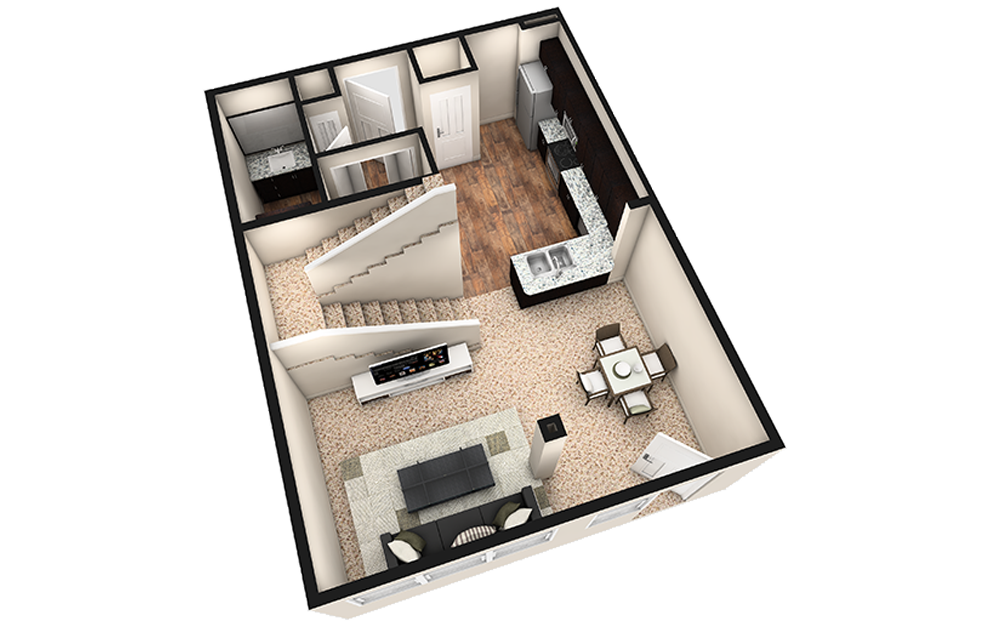 L1 - 1 bedroom floorplan layout with 1.5 bath and 1030 square feet. (Espresso Finish 1st Floor / 3D)