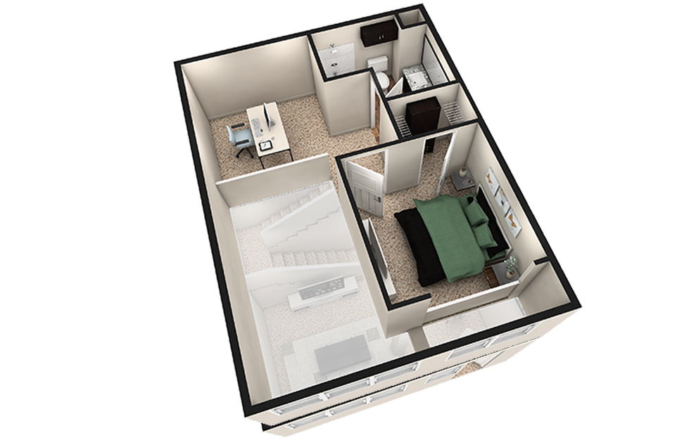 L1 - 1 bedroom floorplan layout with 1.5 bath and 1030 square feet. (Espresso Finish 2nd Floor / 3D)