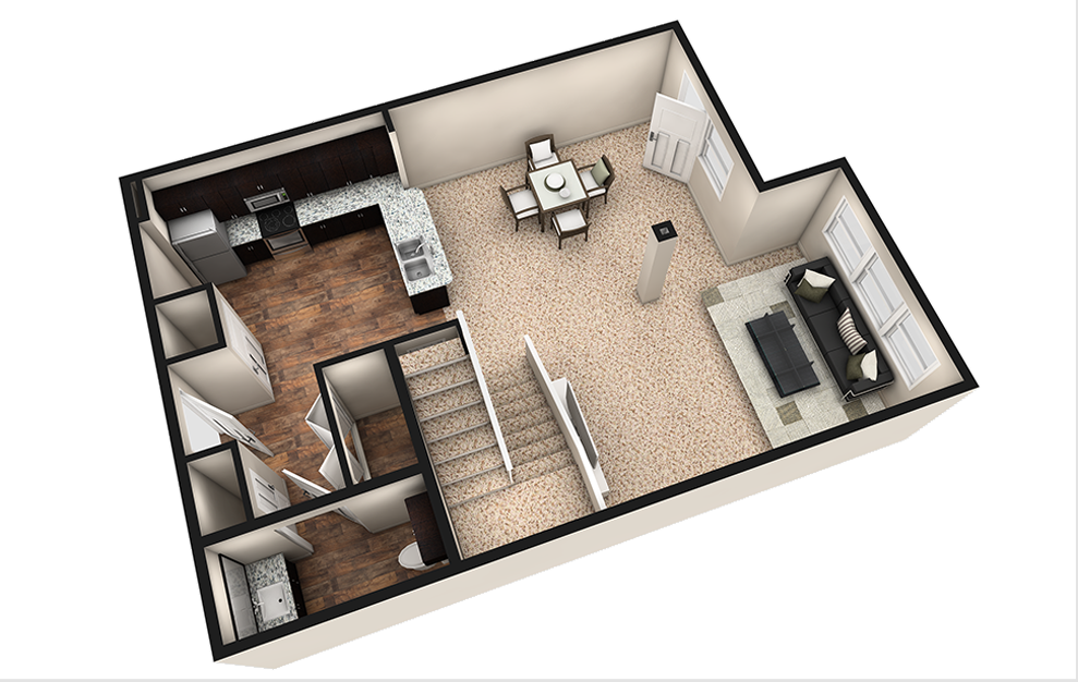 L2 - 1 bedroom floorplan layout with 1.5 bath and 1180 square feet. (Espresso Finish 1st Floor / 3D)