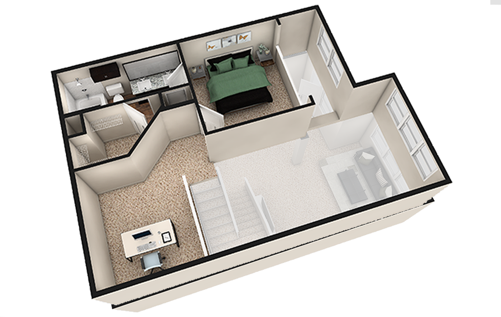 L2 - 1 bedroom floorplan layout with 1.5 bath and 1180 square feet. (Espresso Finish 2nd Floor / 3D)