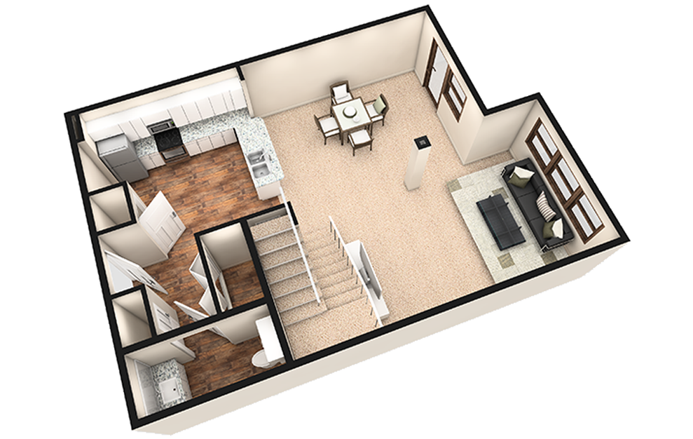 L2 - 1 bedroom floorplan layout with 1.5 bath and 1180 square feet. (White Finish 1st Floor / 3D)