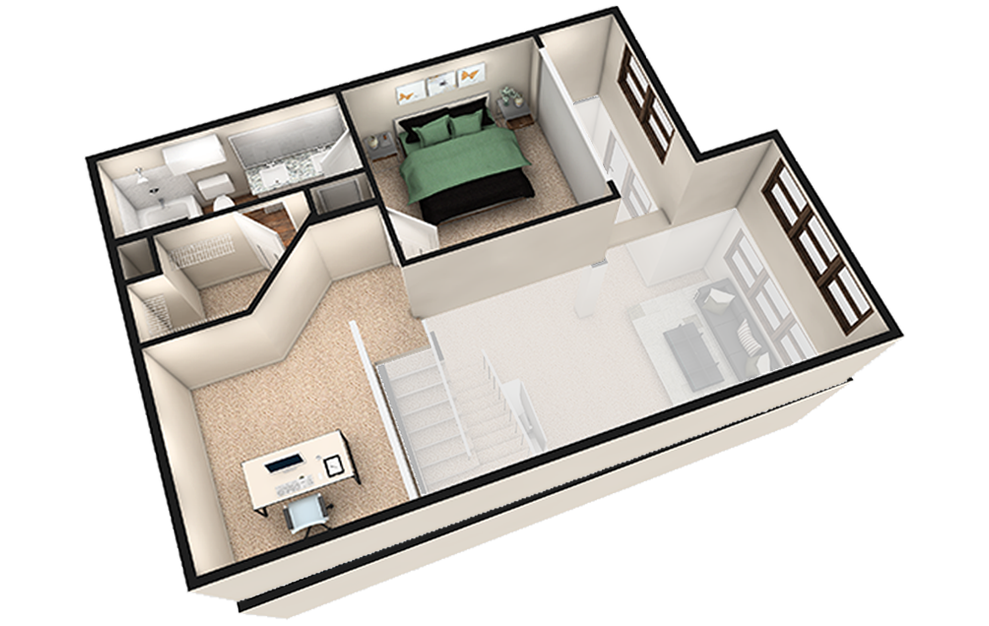 L2 - 1 bedroom floorplan layout with 1.5 bath and 1180 square feet. (White Finish 2nd Floor / 3D)