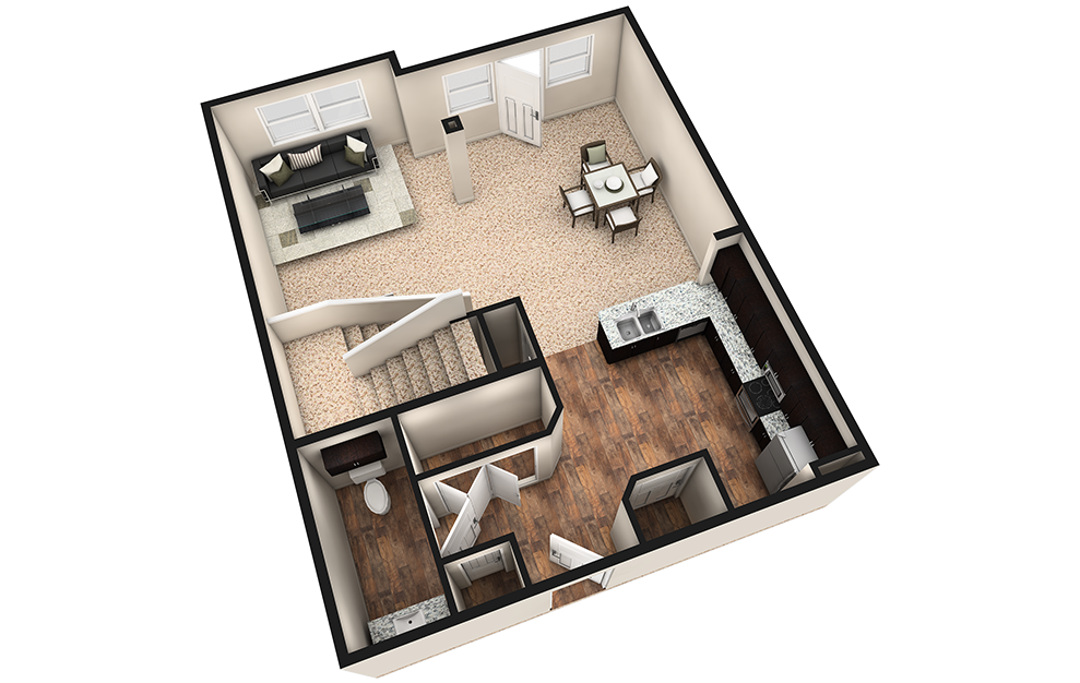 L3 - 1 bedroom floorplan layout with 1.5 bath and 1240 square feet. (Espresso Finish 1st Floor / 3D)
