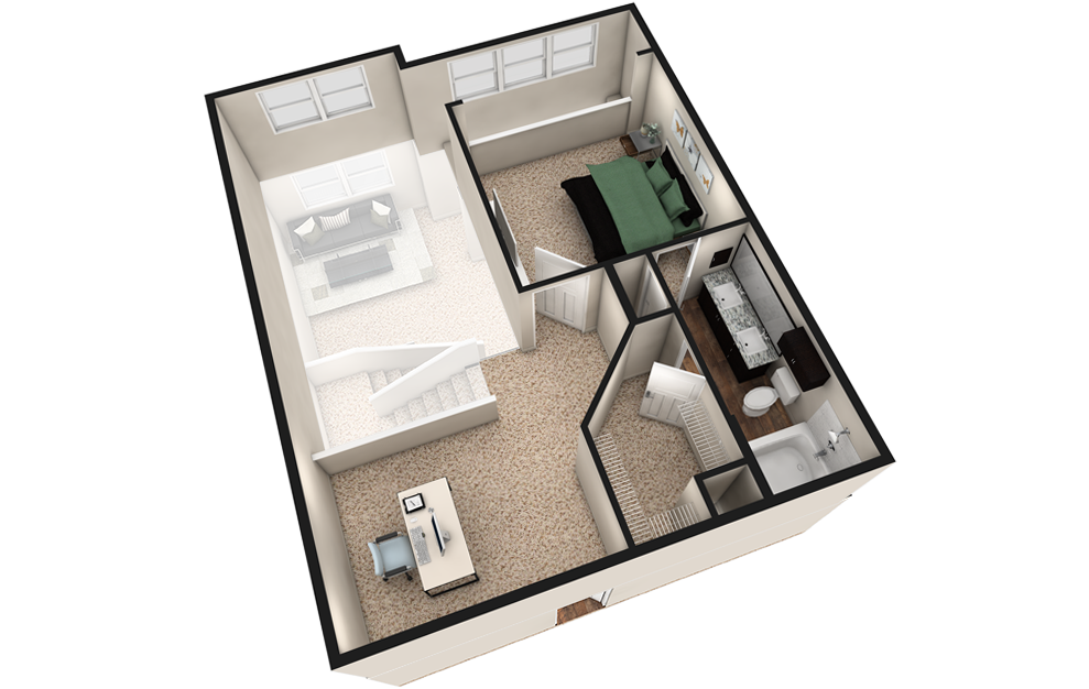 L3 - 1 bedroom floorplan layout with 1.5 bath and 1240 square feet. (Espresso Finish 2nd Floor / 3D)