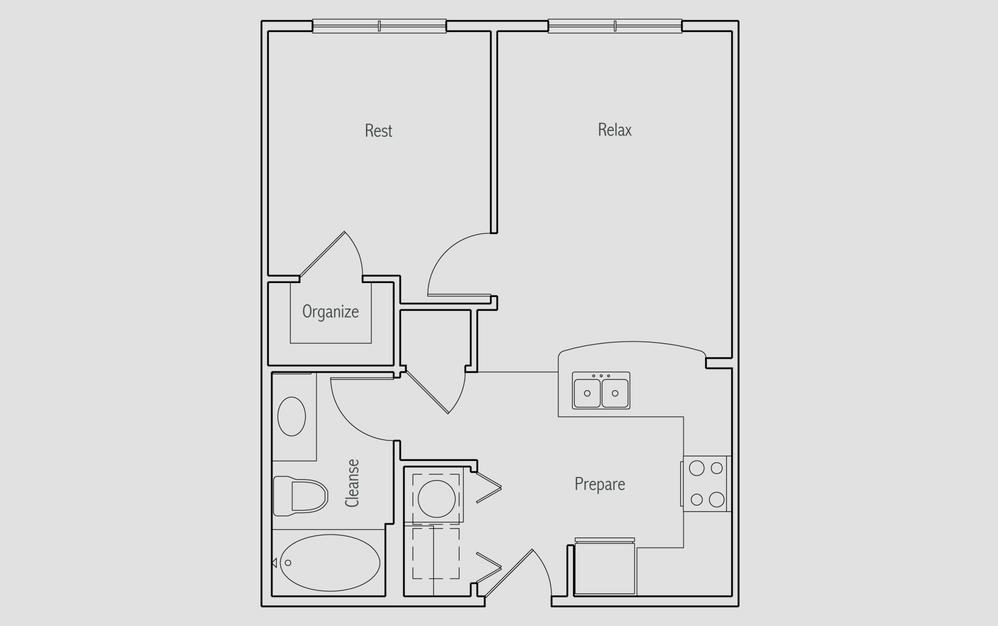 A - 1 bedroom floorplan layout with 1 bath and 560 square feet. (2D)