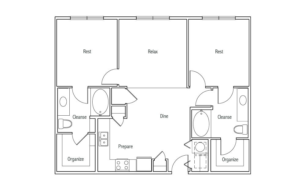 B1 - 2 bedroom floorplan layout with 2 baths and 1010 square feet. (2D)