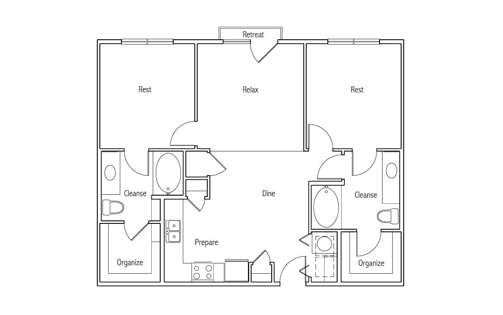 B1J - 2 bedroom floorplan layout with 2 baths and 1020 square feet. (2D)