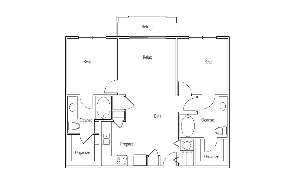 B1T - 2 bedroom floorplan layout with 2 baths and 1070 square feet. (2D)