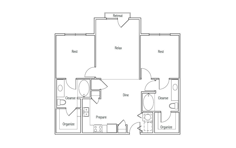B1XJ - 2 bedroom floorplan layout with 2 baths and 1080 square feet. (2D)