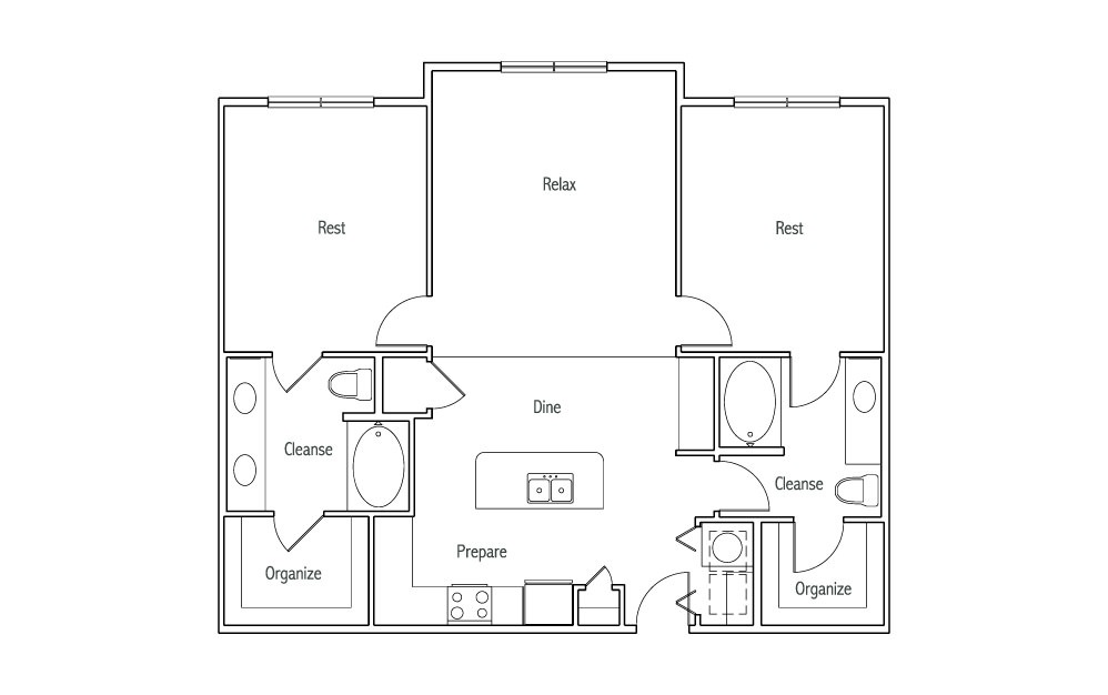 B2 - 2 bedroom floorplan layout with 2 baths and 1180 square feet. (2D)
