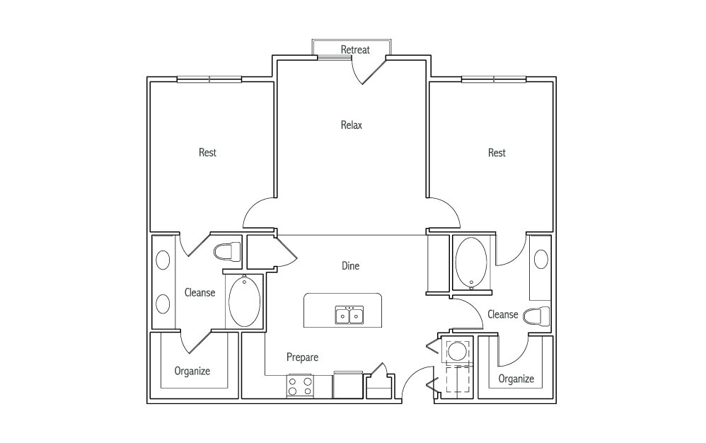 B2J - 2 bedroom floorplan layout with 2 baths and 1190 square feet. (2D)