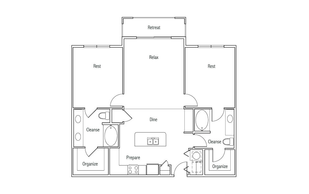 B2T - 2 bedroom floorplan layout with 2 baths and 1240 square feet. (2D)