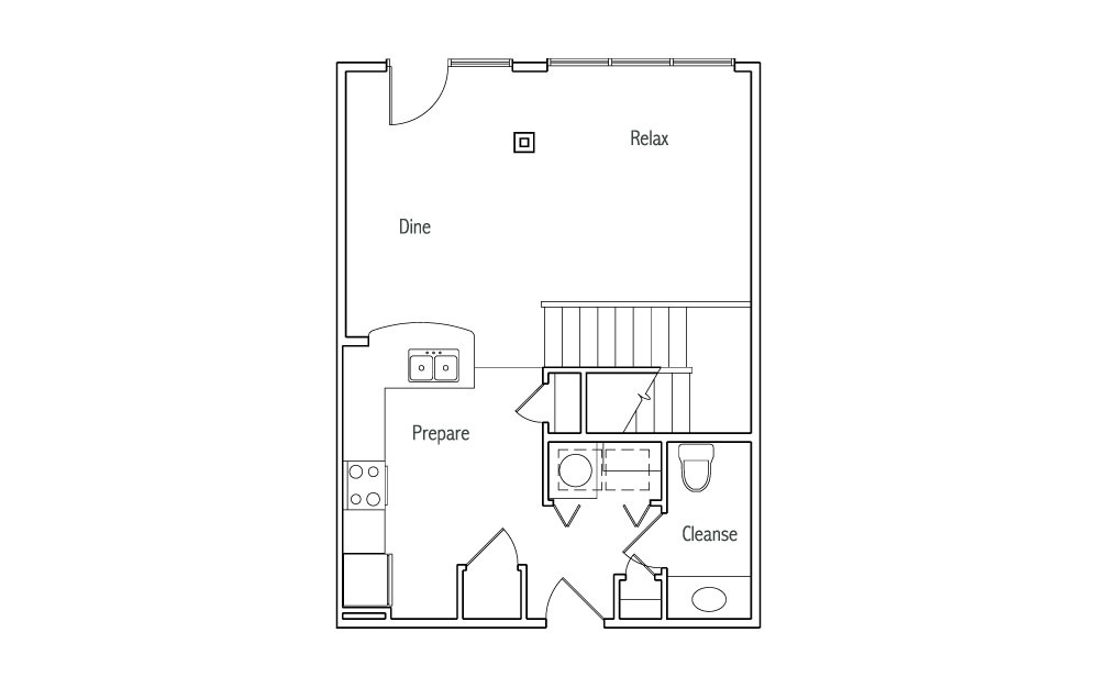 L1 - 1 bedroom floorplan layout with 1.5 bath and 1030 square feet. (Espresso Finish 1st Floor / 2D)