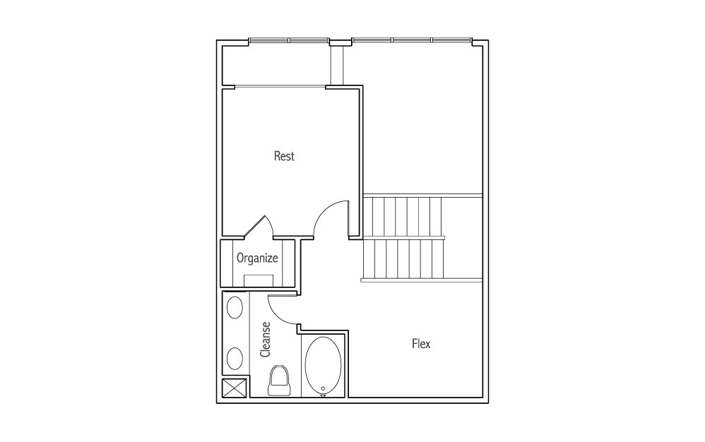 L1 - 1 bedroom floorplan layout with 1.5 bath and 1030 square feet. (Espresso Finish 2nd Floor / 2D)
