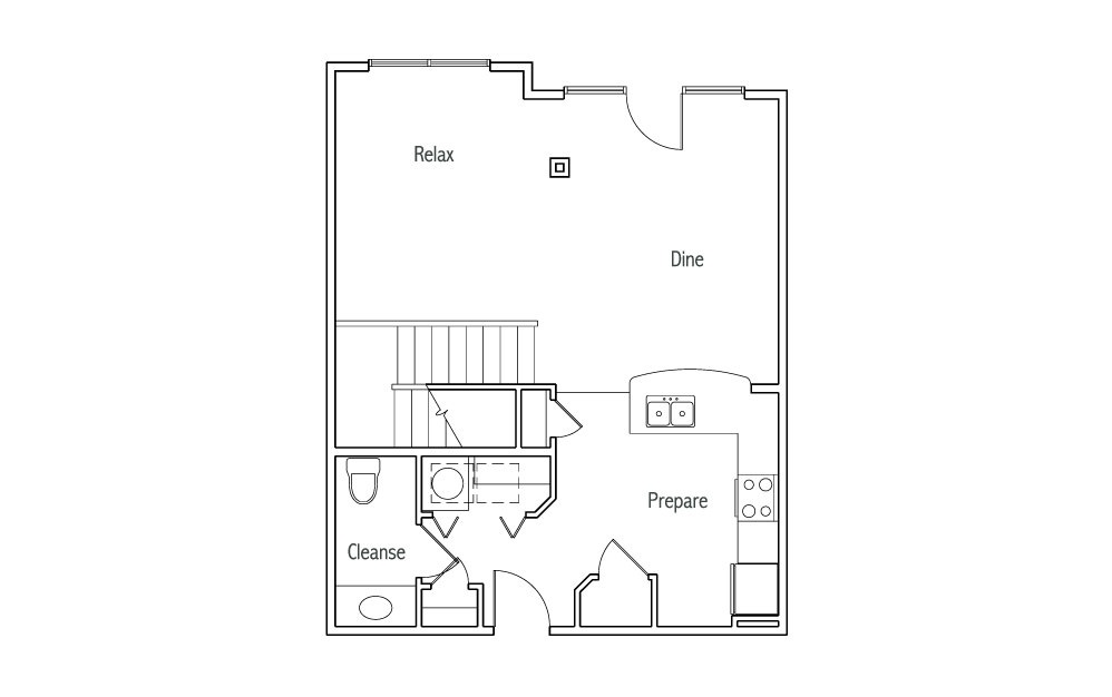 L2 - 1 bedroom floorplan layout with 1.5 bath and 1180 square feet. (White Finish 1st Floor / 2D)
