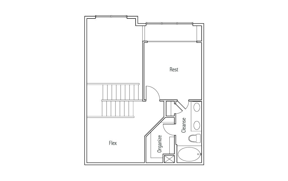 L2 - 1 bedroom floorplan layout with 1.5 bath and 1180 square feet. (White Finish 2nd Floor / 2D)